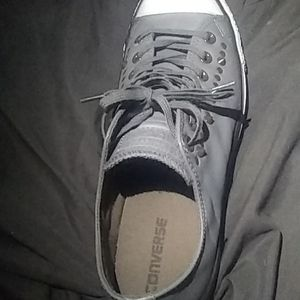 Converse all stars,leather,gray,studded.
